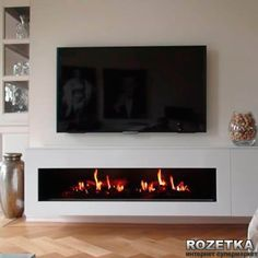 Fireplace With Tv Above Water Vapor Technology Opti Myst