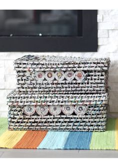 Pick up these handmade recycled paper baskets this weekend with our Basket BOGO, use promo code BASKETBOGO online! Paper Basket, Fair Trade, Decorating Your Home, All Things, Baskets, Recycling, Coding, Unique, Handmade
