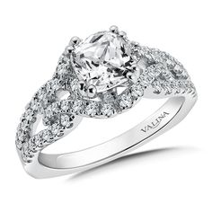 Cushion Cut Split Shank Diamond Engagement Ring in 14K White Gold (0.56ct. tw.) | Valina Bridals