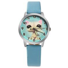 2017 new kitten cartoon watch children girl boy with watch quartz child watch woman Luminous gift