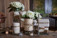 Lovely, simple use of music, glass and hydrangea http://bethanyreneephotography.pass.us/miranda--tim-wedding