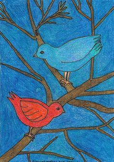 7th of March, 2018 Birds for Eléna Amette by Tiina from Finland and her postcard: Hiver. http://www.tiinafromfinland.com/mail-art/for-elena-amette/ #mailart #drawings #originalart #postcards