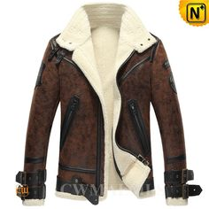"""Milan Fur Lined Sheepskin Coat CW861275 Cool men's bomber jacket, best fur parka in winter for long term investment! Modern energy shearling mens bomber jacket with 100% real leather outside and lamb fur lining, one of the greatest values in fine shearling coats. Cwmalls offers """"Personal Tailor"""" service for special size."""