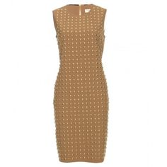 Burberry London Clarabelle Studded Dress ($525) ❤ liked on Polyvore featuring dresses, vestidos, burberry, robes, beige, brown shift dress, brown dress, shift dress and burberry dress