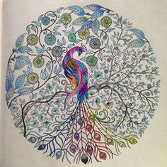 A beautiful page coloured by a fan of The Secret Garden colouring book.