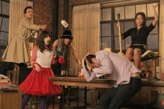 Still of Zooey Deschanel, Max Greenfield, Brenda Song, Jake Johnson and Brooklyn Decker in New Girl (2011)
