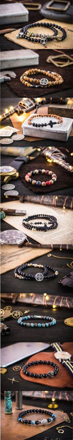 Made to order gemstone beaded bracelets for men. | #strapsandbracelets |