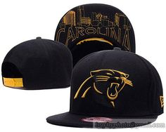 Carolina Panthers Snapback Hats Black Metallic Gold
