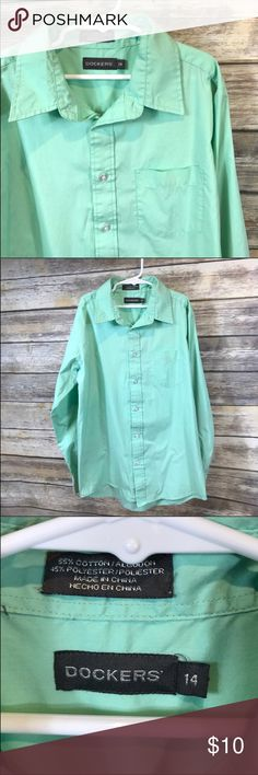 Size 14 Dockers button down shirt Dressy mint green color.  Great for the holidays! Dockers Shirts & Tops Button Down Shirts