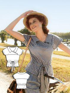 Short Sleeve Wrap Blouse 04/2014 #122 http://www.burdastyle.com/pattern_store/patterns/short-sleeve-wrap-blouse-042014?utm_source=burdastyle&utm_medium=blog&utm_campaign=bsawblog031714-wrapblousetxt