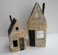 nesting houses (set one) - mixed media artwork - paper folk art by Cathy Cullis.***Slightly sinister but very lovely. I wonder how easy it would be to make nesting houses inspired by these but strong enough for a small child to play with. Paper Art, Paper Crafts, Wood Crafts, Ceramic Houses, Wooden Houses, Deco Kids, Putz Houses, Bird Houses, Glitter Houses