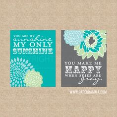 You are My Sunshine Wall Art Teal Nursery Decor by PaperRamma