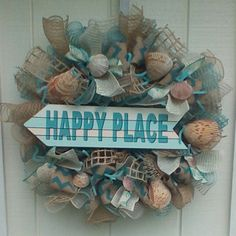 NAUTICAL BEACH  SUMMER   BURLAP WREATH SHELLS #DecoMesh