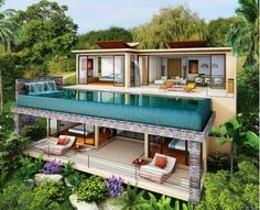 Luxury villa with pool is an idea for those of you who have a villa, you can design with luxurious design and with the addition of a pool to make it more c Bungalow House Design, Modern House Design, Contemporary Design, Luxury Homes Interior, Interior Architecture, Jungle House, Rest House, Dream House Exterior, Mansions Homes