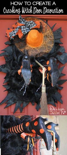 Make your own Crashing Witch Door Decoration! Don't Text and Fly! Designed by Toni of Design Dazzle #halloweendecor
