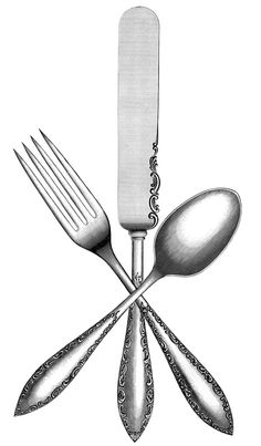 I just like this Vintage Silverware Image from- who else?- The Graphics Fairy! Would be cute transferred to a flour sack towel or printed onto burlap & put into a cheap frame-- super cute for the kitchen!