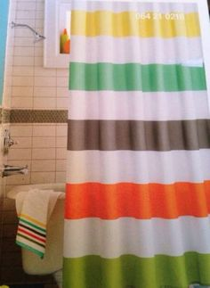 Circo® Warm Rugby Stripes Shower Curtain Orange Yellow Green Kids New
