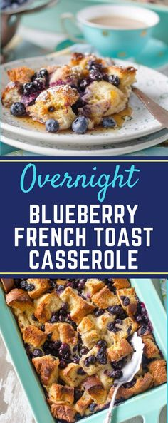 This easy Overnight French Toast Casserole is the perfect recipe for Easter brunch! Packed full of delicious blueberries, you can prepare this dish the night before, and then bake it in the morning! It would even taste great topped with a spread of cream cheese. #overnightblueberryfrenchtoast #easybrunchrecipes #weekendbreakfastrecipes #gogogogourmet