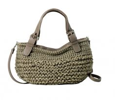 Luana - Knitted wool bag with leather details