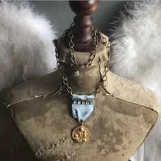 "Regina Sacraiissimi Rosario Ora Pro Nobis. ""Queen of Peace Pray For Us"" vintage assemblage necklace ooak by Alpha Female Studio. Https://www.etsy.com/listing/545172109/regina-sacraiissimi-rosario-ora-pro"
