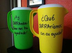 """""""¡Ay JARRAmba! ¡Cómo nos ha ayudado!"""" or """"¿Qué JARRAríamos sin su ayuda?"""" or """"Thanks for PITCHing in to help our class"""" Thank You gift for Spanish immersion classroom volunteers and specials teachers- have all of the students sign the pitchers with multi-colored sharpies"""