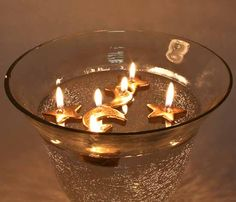 Gold Moon and Stars Floating Candles - Candles and Accessories ...