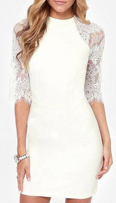 Lace Raglan Sleeve Dress - Features Lace Design