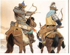 two Mongol horse archers