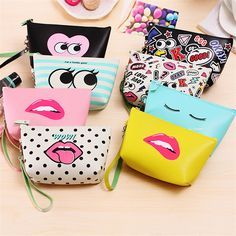 Multifunctional Waterproof Cartoon Cosmetic Bags For Make Up Travel Leather Cosmetic Bag Orangizer Luxury Brand Cat Lips Pattern