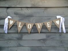 Items similar to Glittered Hearts Burlap Banner with Ribbon Bows on Etsy