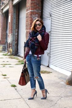 How To Style A Burgundy Leather Jacket | My Style Pill | Bloglovin'
