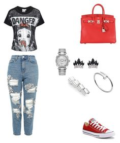 """""""Untitled #114"""" by gcardentey on Polyvore featuring Topshop, TALLY WEiJL, Converse, Fallon, Hermès, Maison Margiela, Cartier and Rolex"""