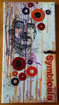 Salvador Dali Mixed Media Portrait #decoartprojects #mixedmedia #decoartmedia