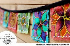 How to make Bohemian Flags. These are so easy to make, let Jaderbomb show you how! #tiedye #flagbunting #summercrafts
