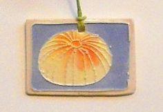 CERAMIC SEA URCHIN mini ornament gift tag pendant handmade ceramic watercolor marine life sea ocean beach summer shore Wisconsin artist