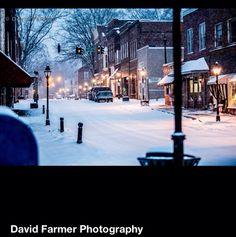 Lampposts lining downtown Historic Rogersville, TN