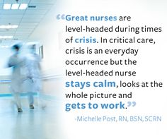 """Look! I'm my own pin!!  Repin this image if you know a #nurse who knows how to keep calm and """"get to work!"""" This quote is from Michelle Post, RN, BSN, SCRN, a critical care nurse featured in the July issue of #NursingNotes."""