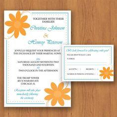 Simply Jasmine Wedding Invitation Set  Orange & by MyDIYDesigns