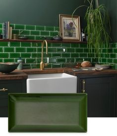 Victoria Baths Collection from Tile Giant Green Kitchen Walls, Kitchen Wall Tiles, Grey Kitchen Cabinets, Open Plan Kitchen, New Kitchen, Victorian Kitchen, Victorian Tiles, Dark Green Bathrooms, Green Subway Tile