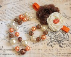 Fall Chunky Necklace, Bracelet, and Headband Set, Brown, Ivory and Orange Pumpkin Bubblegum Necklace, Girls Chunky Necklace, Womens Necklace