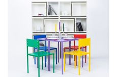 Table and Chairs store inside bookshelf - Orla Reynolds Design