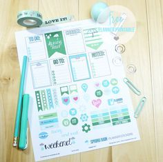 Spring Rain Planner Stickers - Free Printable. [These planner stickers are specifically designed for fans of the MAMBI Happy Planner (vertical) or other vertical weekly planners.]