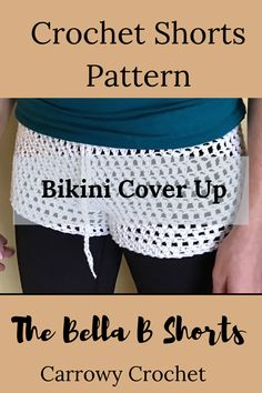 Crochet shorts pattern for beach shorts. Great for festivals and as a bikini cover up. Crochet Shorts Pattern, Fingerless Gloves Crochet Pattern, Bikini Pattern, Crochet Patterns For Beginners, Easy Crochet Patterns, Crochet Designs, Festival Shorts, Festival Outfits, Bikini Cover Up