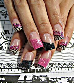 Zebra accented acrylic nails