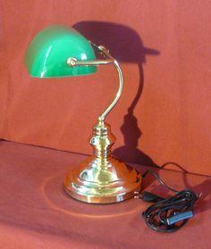 Lampada ministeriale studio ottone lucido vetro verde asta fissa scrivania lamp