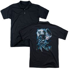 BATMAN/MOONLIGHT CAT (BACK PRINT) - MENS REGULAR FIT POLO - BLACK -