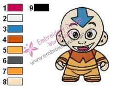 Aang Baby Avatar The Last Airbender Embroidery Design