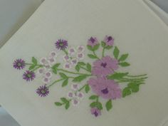 Vintage Ladies Hanky or Handkerchief in Beautiful White featuring Purple, Lavender, White and Green, Embroidered Flowers in one corner by SouthWestConcepts on Etsy