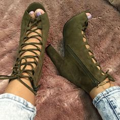 Lace up Chunky Open Toe Booties