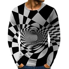 Men's Graphic optical illusion Plus Size T-shirt Print Long Sleeve Daily Tops Streetwear Exaggerated Round Neck Rainbow 2020 - US $17.24 3d T Shirts, Cool Shirts, Printed Shirts, Long Sleeve Tops, Long Sleeve Shirts, Top Streetwear, Mens Fashion Wear, Online Shopping, Plus Size T Shirts